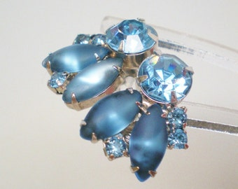 Vintage Antique Earrings 1950 Chunky Marquis Large Crystal Blue Fly Pronged Large Rhinestones Clip Retro Art Deco Runway Bride Statement