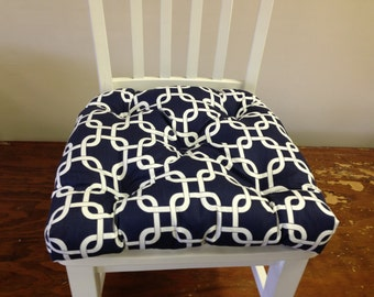 Set of 2, 4, 6, 8 tufted chair pads, seat cushions, bar stool cushions, navy blue and white gotcha chain link