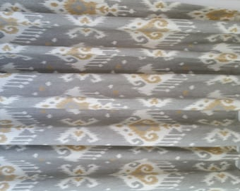 Pair of designer custom made drapes, curtain panels, ikat Magnolia Dakota grey choose size and lining
