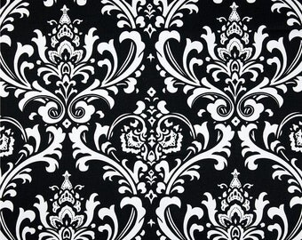 "Fabric shower curtain, Ozborne damask, black white cotton print, 72"", 84"", 90"", 96"", 108"" custom sizes available"
