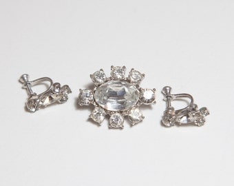 Rhinestone brooch and earrings clear white silver costume jewelry