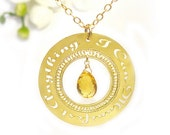 """Gold necklace """"I can manifest anything"""" with Citrine Affirmation jewelry, personal development, manifesting, spiritual jewelry, success"""