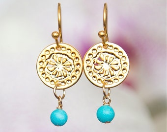 Gold Circular earrings with Turquoise, Short earrings, Turquoise earrings, Modern jewelry, Dangly earrings, Flower design, Gold earrings