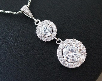 Wedding Jewelry Bridal Jewelry Bridal Necklace Clear White LUX Cubic Zirconia halo style round drop Necklace
