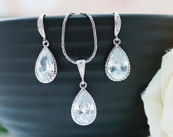 Wedding Jewelry Bridal Jewelry Bridal Earrings Bridal Necklace Clear White Large Cubic Zirconia Tear drops Bridal Jewelry Set