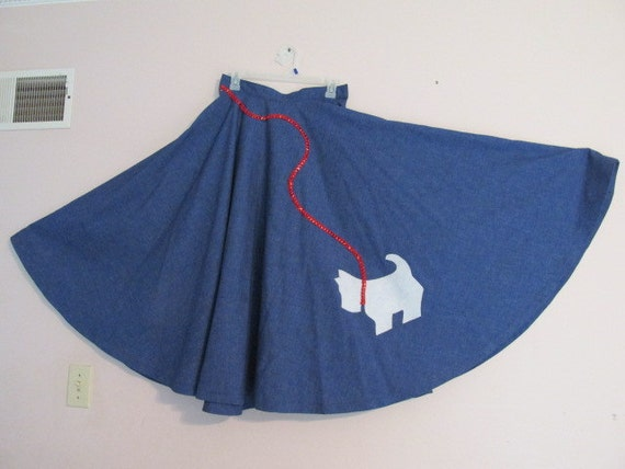 1950s circle poodle skirt used blue with scottie