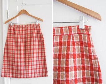 Vintage 70s Plaid A Line Skirt / Red and Brown sz S-M