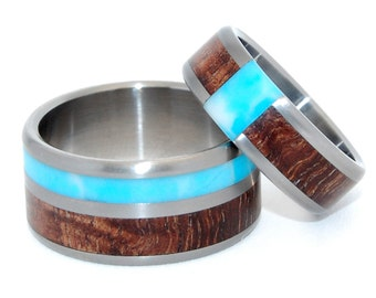 Wooden Wedding Rings, titanium rings, mens rings, wedding bands, eco-friendly, larimar, koa - Passing Clouds in The Sky Above our Home Set