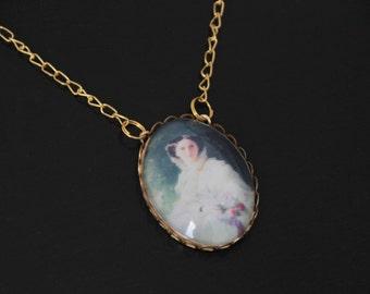 Collier Jane Austen # 4 : austen pride and prejudice anglais XIXe médaillon camé ancien perles