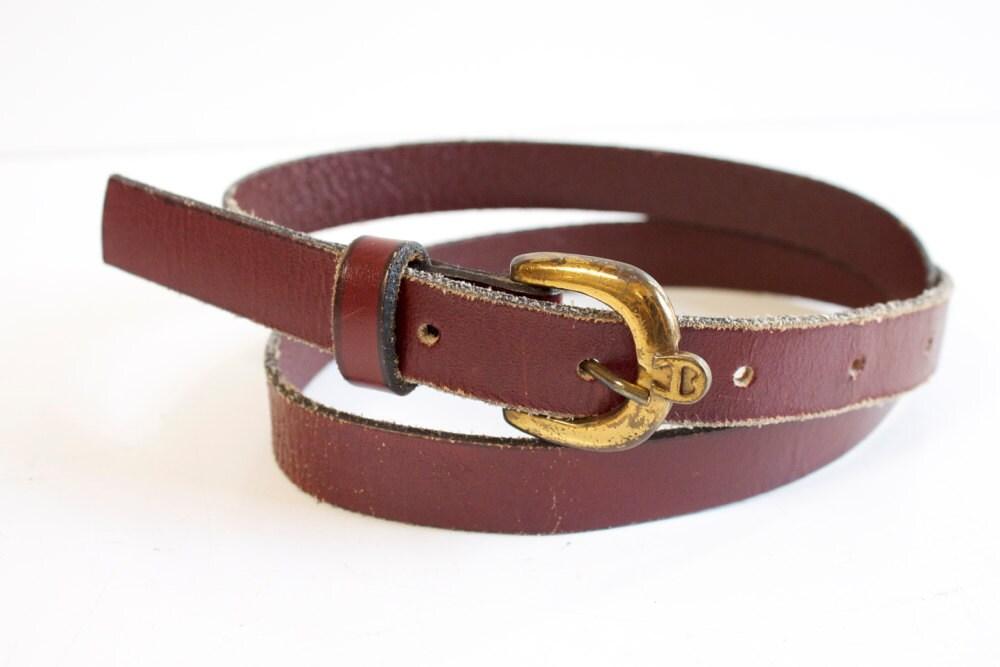 vintage leather belt s burgundy leather belt by