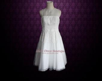 Modest Knee Length Short Lace Wedding Dress   Modest Wedding Dress   Short Wedding Dress   Knee Length Wedding Dress    Bronwyn