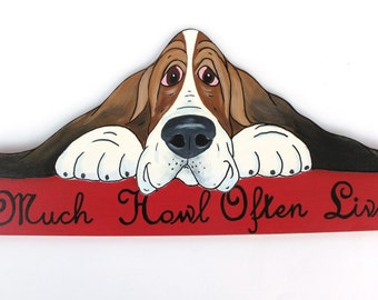 """Made to Order Basset Hound Wall Art - """"Love Much, Howl Often, Live Well"""" in Country Red"""