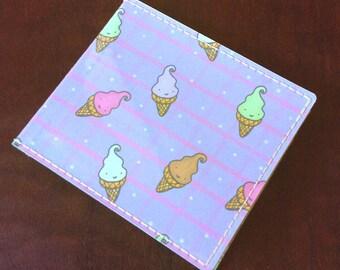 Ice Cream Owls - Handmade Vinyl Billfold Wallet