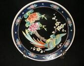 Vintage Japanese Hand Painted Bird and Flower Ceramic Plate,Vintage Asian Ceramics, Art Deco Ceramics, Asian Design,Asian Style, Asian Decor