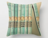 Throw Pillow Case : One of the Boys Vintage Hardy Boys Book Collection Antique Turquoise Aqua Robins Egg Retro Mid Century Boys Nursery - TheLightFantastic