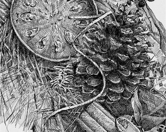 Wreath Pen and Ink Drawing- Original Art on Paper- 8x10- Realistic, Detailed Black and White- Christmas, Holiday- CIJ- Free US Shipping