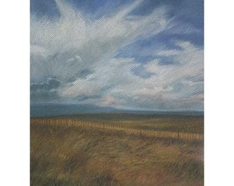 Pastel Landscape Drawing- Original Art- Blue Sky, White Clouds, Golden Grasses- Santa Fe, Southwest- 12x16- Fine Art