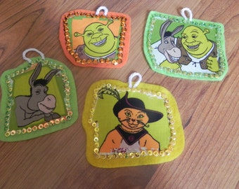 Shrek inspired christmas ornament set of 4 not a licensed product