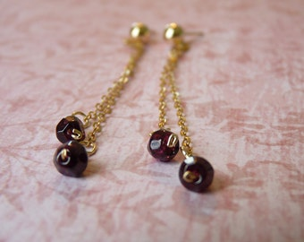 Long Dangle Earrings - Gold-Filled with Garnet Stones - Hypoallergenic Earrings - Gold Dangle Earrings   Handcrafted Jewelry