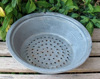 Vintage Graniteware Strainer Colander Enamelware Bowl