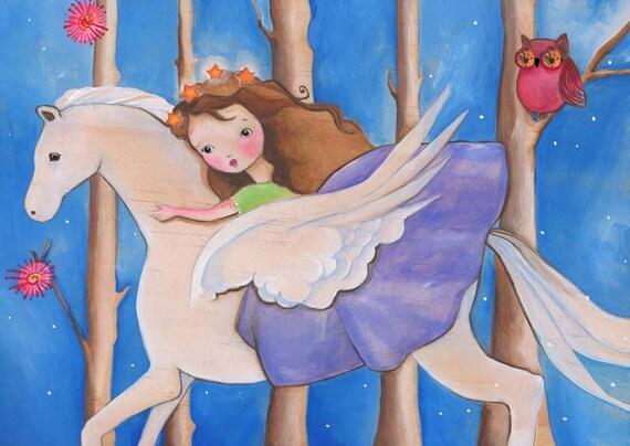 Winged Horse Girl Art Print