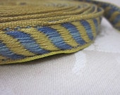 Narrow Blue and Yellow Striped Vintage Trim