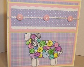 Handmade Card--Pastel Sheep with Buttons--Baby or All Occasion Card