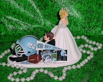 College Football Fan NC Tar Heels Groom Sports Fan Fun Wedding Cake topper- North Carolina University Football -2