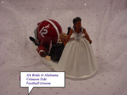 african american football wedding cake toppers alabama crimson tide football grooms by 10595