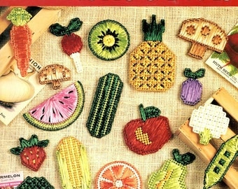 Just Picked Plastic Canvas Needlepoint 1embroidery Refrigerator Vegetable Fruit Food Kitchen Magnets Craft Pattern Leaflet 1498 Leisure Arts