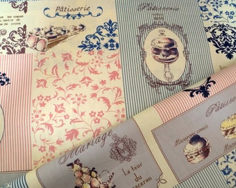 Japanese fabric, Quilt fabric, Lolita dress, Cotton fabric, Retro, Macarons, Vintage style fabric, 1 yard FB064