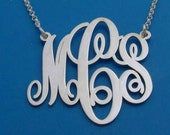 Silver Monogram Necklace, Personalized Initials Necklace, Custom Monogrammed Necklace