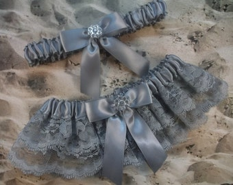 Gray Satin Gray Double Lace Rhinestone Flower Wedding Garter Set Toss
