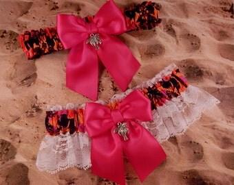 Hawaiian Print Hot Pink Ribbon White Lace Bridal Wedding Garter Set Toss