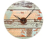 Rustic Wall Clock, 12 Inch Large Wall Clock, Faux Chippy Paint Wall Clock, Faux Weathered Wood Clock, Wall Hanging, Wall Decor - 1935