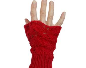 Red Fingerless Gloves Irene Lace Valentine Mittens Hand Knit Merino Wool Silk Gift Bag