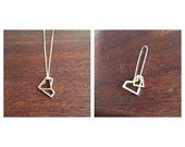 Geometric heart and earring set