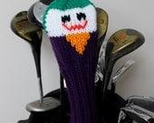 The Joker, Golf Headcover, Golf Club Cover, Golf Head Cover, Knit Golf Club Cover, Knitted Head Cover, Batman, Comic, Gifts for Men