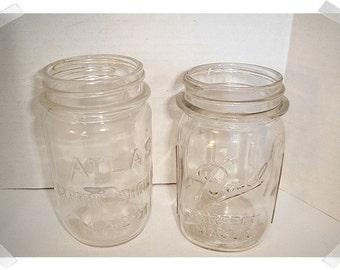 Vintage Glass Mason Jars/Set of 2/* Lids OR No Lids/ Kitchen Wares*