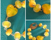 Yellow Heart Focal Bracelet with accented lampwork beads, Custom Clasp