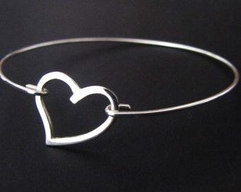 Heart Bangle Bracelet, Sterling Silver Bracelet, Jewelry, Friendship Bracelet, Gift