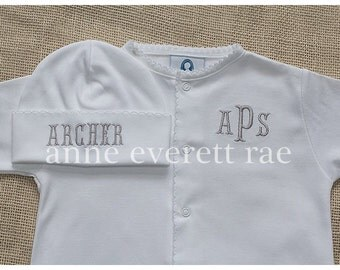 Unisex Coming Home Outfit-Unisex Baby Clothes-Gender Neutral White Trim Coming Home Outfit-Pima Cotton Converter Gown-Newborn Baby Gift