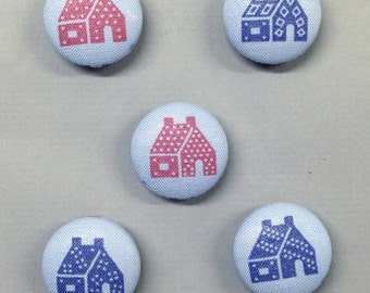 "7/8"" Size 36 Light Blue/Blue/Red Houses Fabric Covered Button Magnets (Set of 5)"