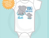 Boy's Personalized Elephant Big Brother Shirt or Onesie, Pregnancy Announcement (07302012a3)