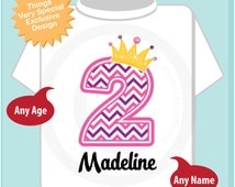Second Birthday Shirt, Pink Chevron 2 Birthday Shirt, Any Age Personalized Girls Birthday Shirt Pink Age and Name Tee for kids (05232014d)