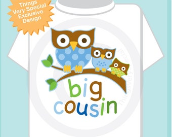 Boy's Big Cousin Shirt, Owl Tee Shirt or Big Cousin with baby unknown owl and middle cousin boy Onesie Pregnancy Announcement (12122013j)
