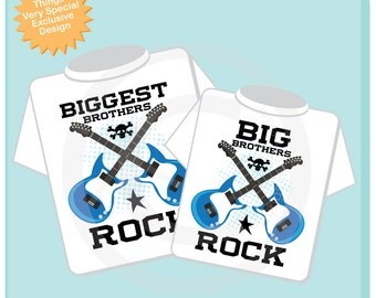 Set of Two, Biggest Brothers Rock and Big Brothers Rock Guitar Rocker Shirt or Onesie, Infant, Toddler or Youth sizes t-shirt (05192014b)