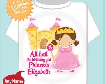 3rd Birthday Shirt, Brown Haired Princess Third Birthday Shirt, Personalized Cute Princess Birthday Girl Tee Shirt (06242014f)