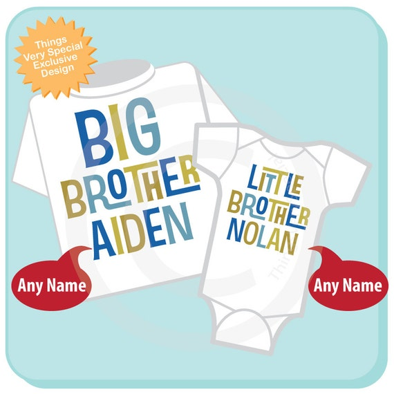 Boys Set of Two Big Brother Little Brother Top Shirt set of 2, Sibling Shirt, Personalized Tshirt and Onesie (01162012b)