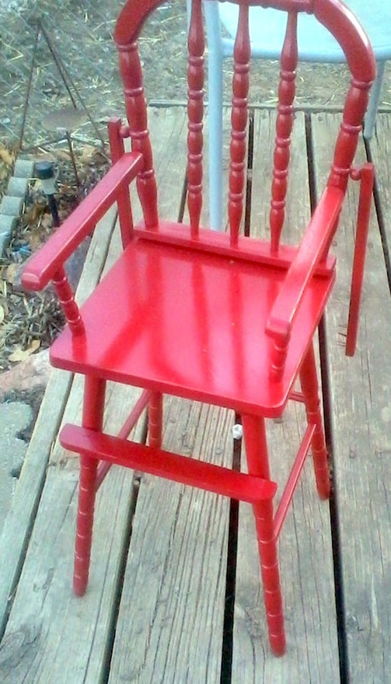 Bright Red Vintage Wooden Doll Highchair